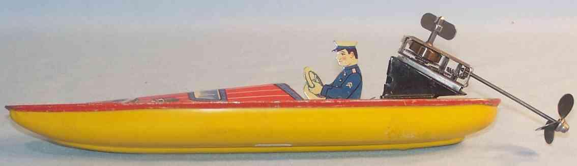 kellermann blech spielzeug schiff rennboot