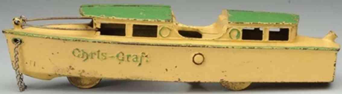 kilgore cast iron toy ship chris craft boat cream green