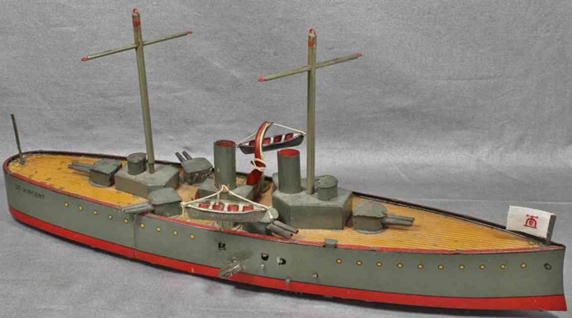 lehmann 672 st vincentblech spielzeug kriegsschiff 2 schornsteine