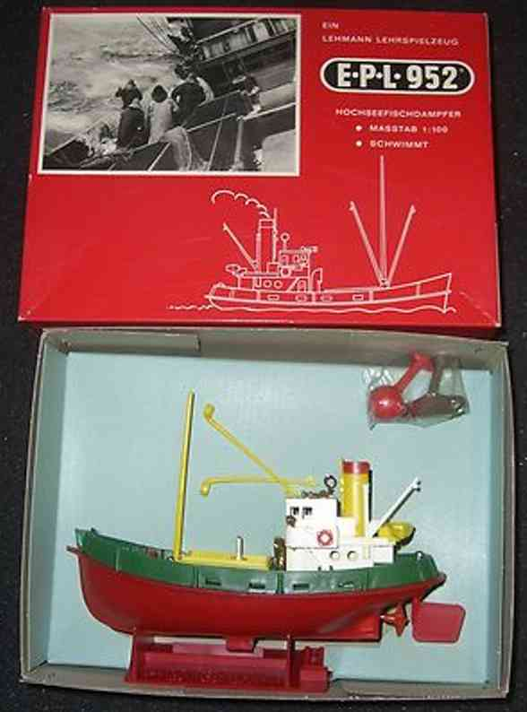 lehmann 952 celluloid toy ship high sea steam trawler