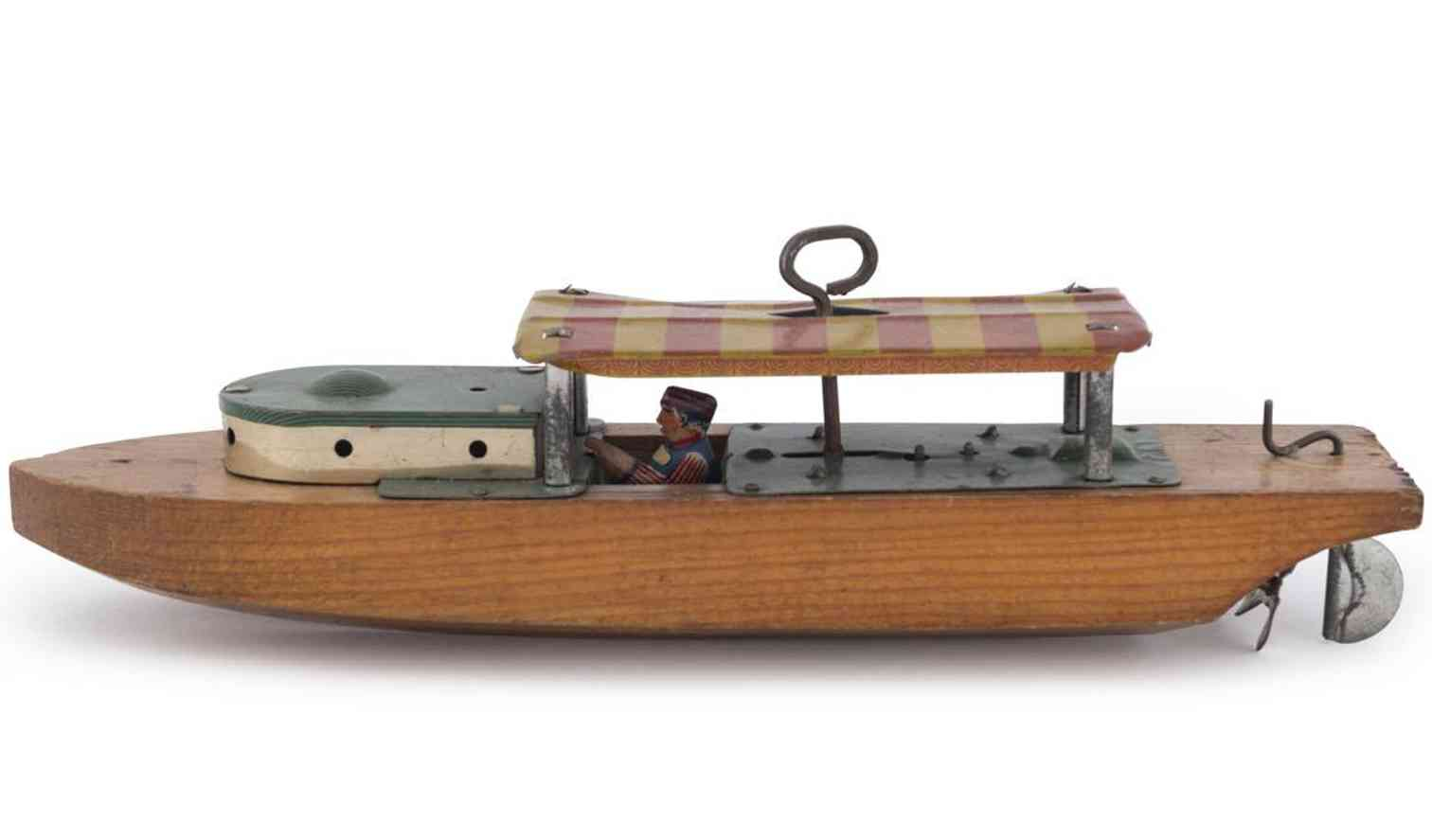 liberty playthings tin toy cabin cruiser river boat wooden hull tin canopy driver