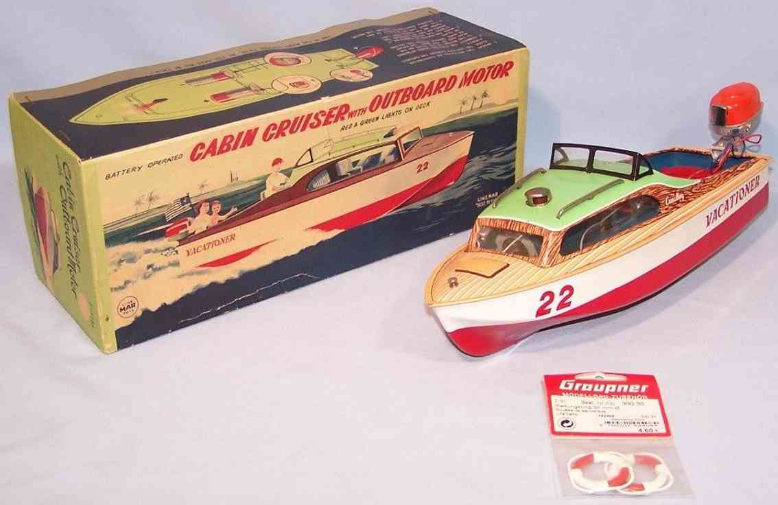 linemar j-1784 tin toy motorboat outboard motor plastic