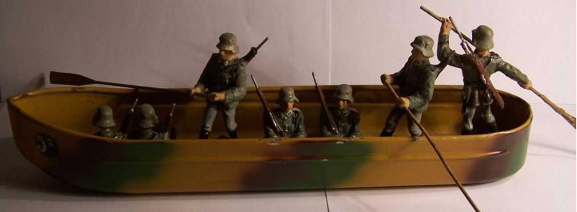 lineol militaer spielzeug schiff ponton mit voller besatzung, 7 figuren