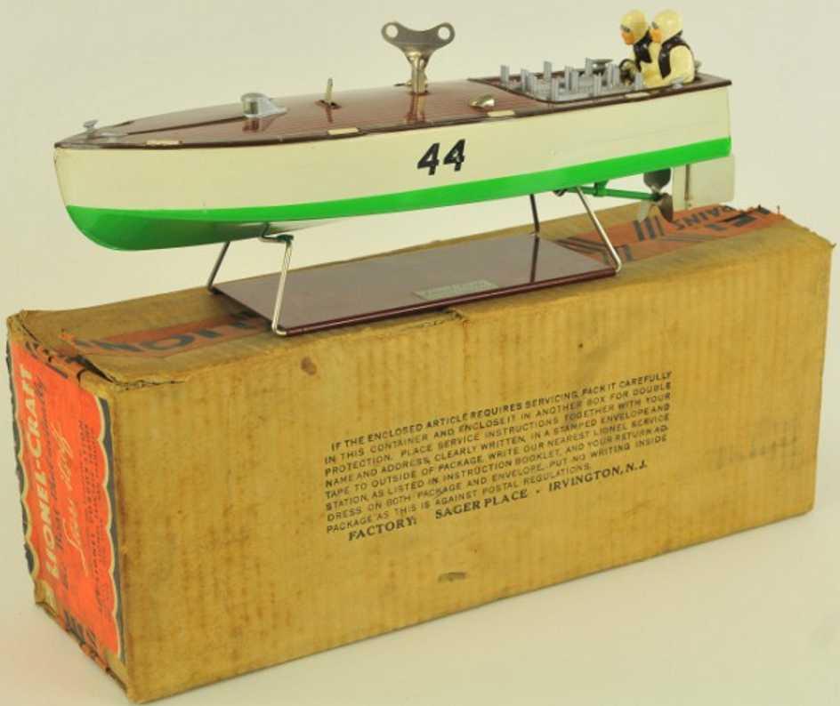 lionel 44 stahlblech spielzeug rennboot weiss gruen
