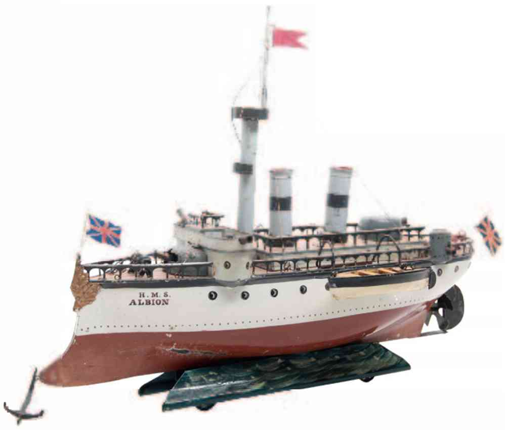 marklin maerklin 1092 tin toy warship albion with clockwork