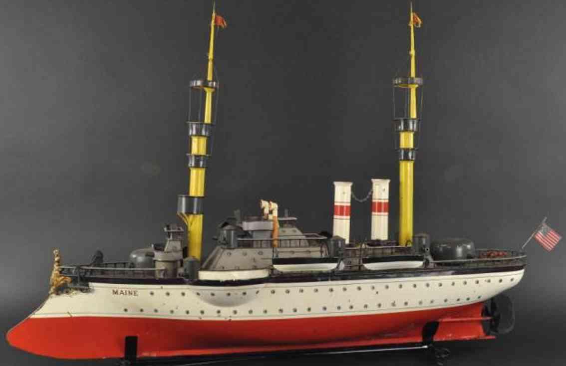 maerklin 1092 blech spielzeug kriegsschiff maine rot weiss uhrwerk