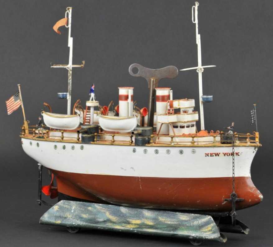 maerklin 5103 blech spielzeug kriegsschiff new york uhrwerk geschuetze