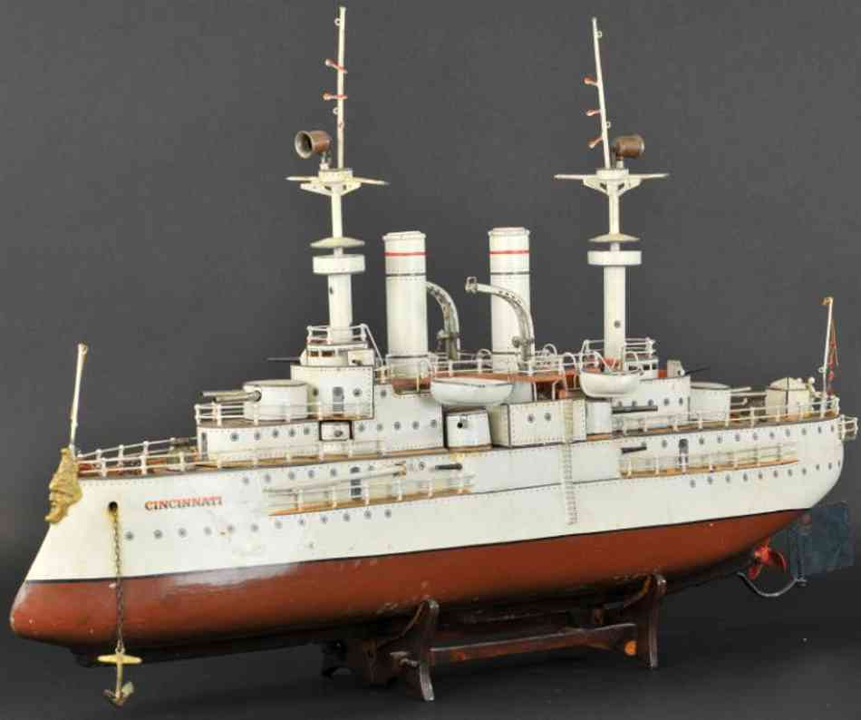 marklin 5130/8e tin toy battleship cincinnati 2nd series electric drive