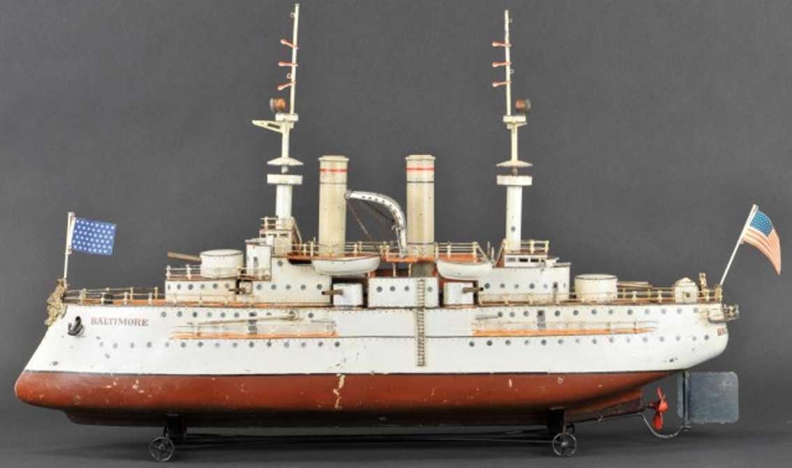 marklin maerklin 5130/d/8 tin toy steam battleship baltimore