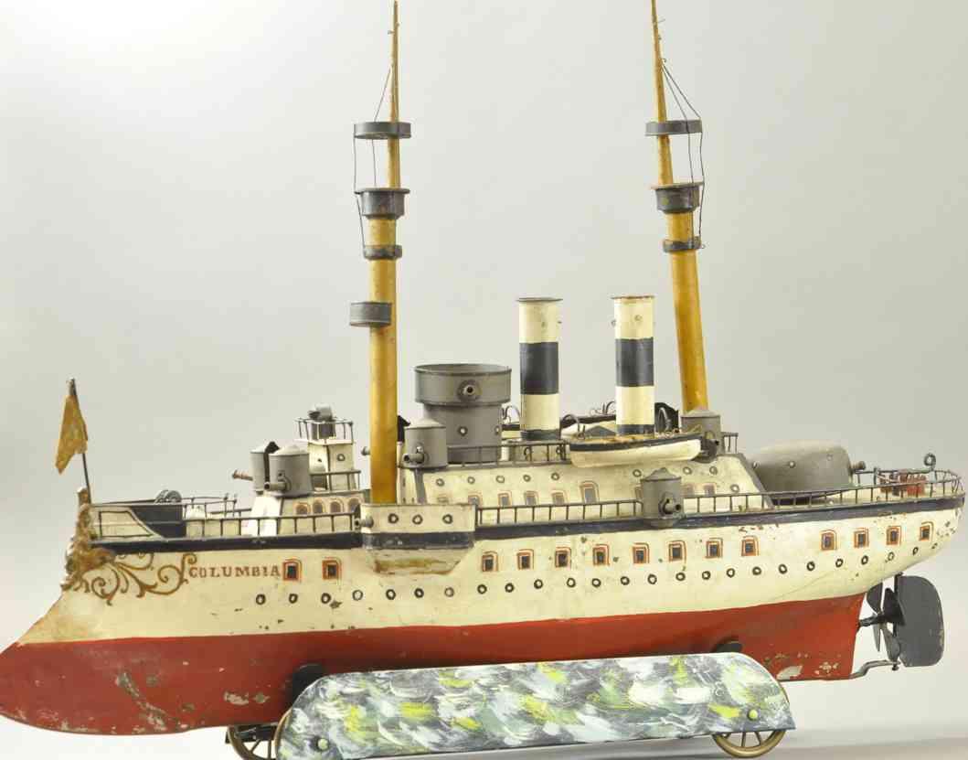 maerklin blech spielzeug kriegsschiff columbia zwei kamine masten