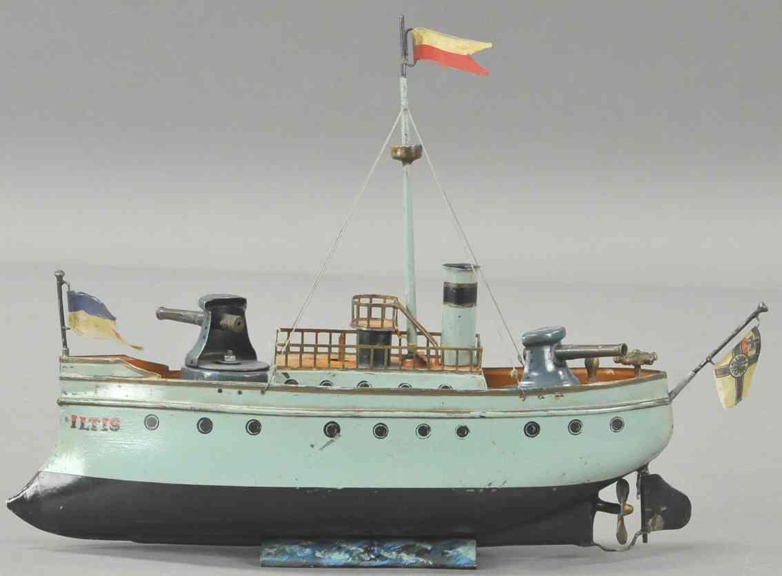 maerklin blech spielzeug kriegsschiff iltis kanonen mast schornstein