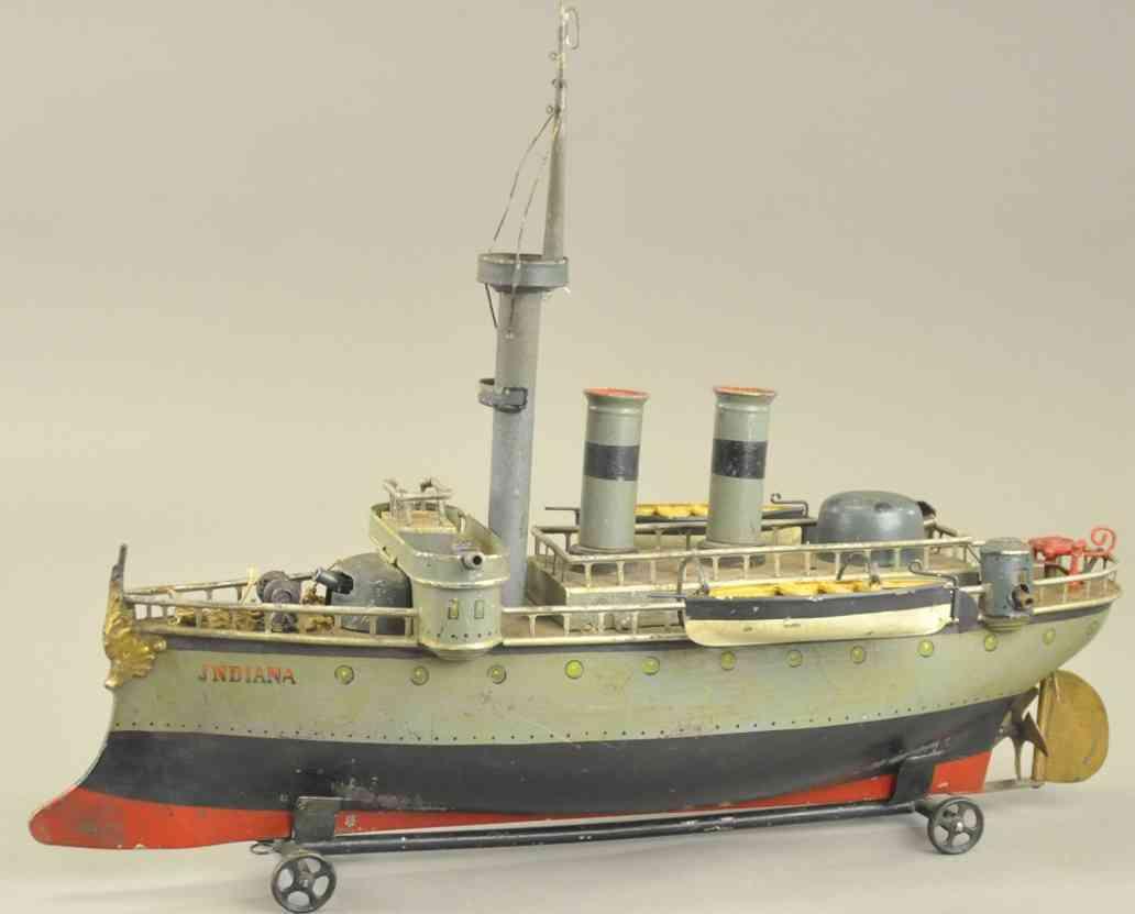 maerklin blech spielzeug kriegsschiff indiana grau kanonen rettungsboote