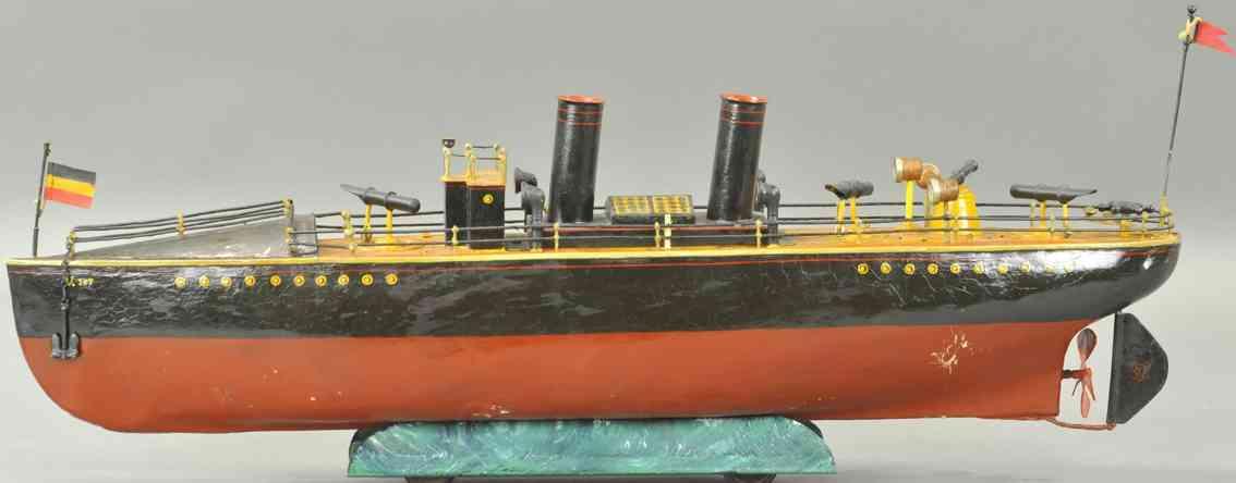 maerklin blech spielzeug torpedoboot zwei schornsteine rot schwarz