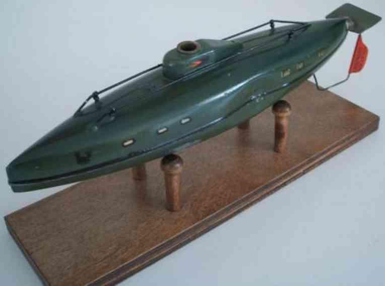 maerklin blech spielzeug u-boot aus blech mit uhrwerk  auf dem bild fehlen: messingve