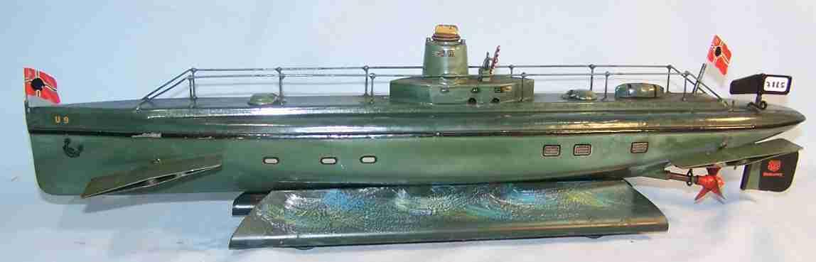 Märklin U-Boot U9 grün handlackiert