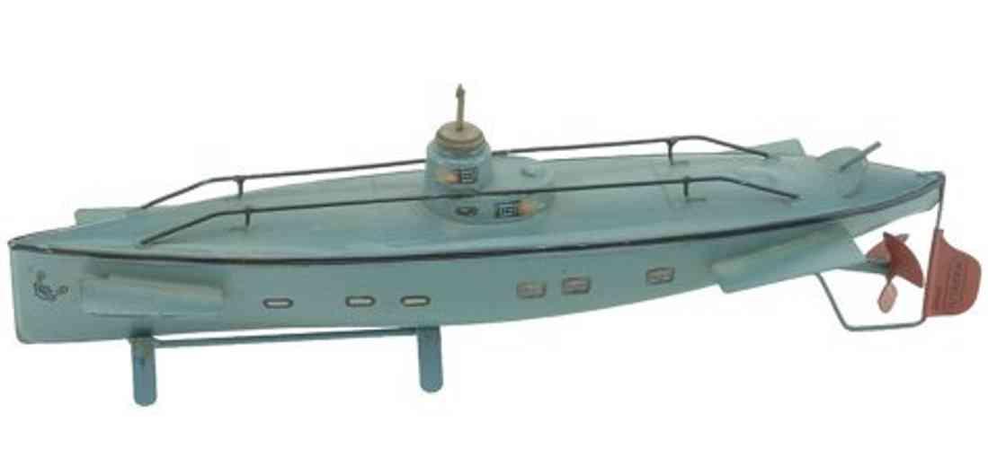 maerklin blech spielzeug u-boot mit uhrwerk und herstellerzeichen auf dem ruder