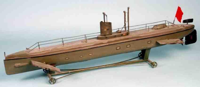maerklin blech spielzeug unterseeboot der marine in grün, mit geländer, rettungsboot,