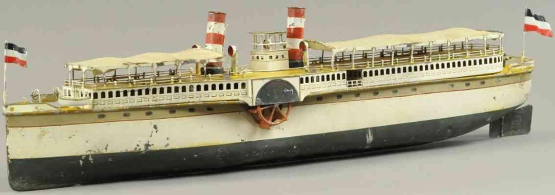 maerklin 5066/75 blech spielzeug flussdampfer wien zwei kamine rettungsboote schaufelrad