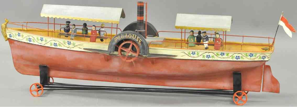 maltete et parent blech spielzeug schaufelradschiff mit uhrwerk