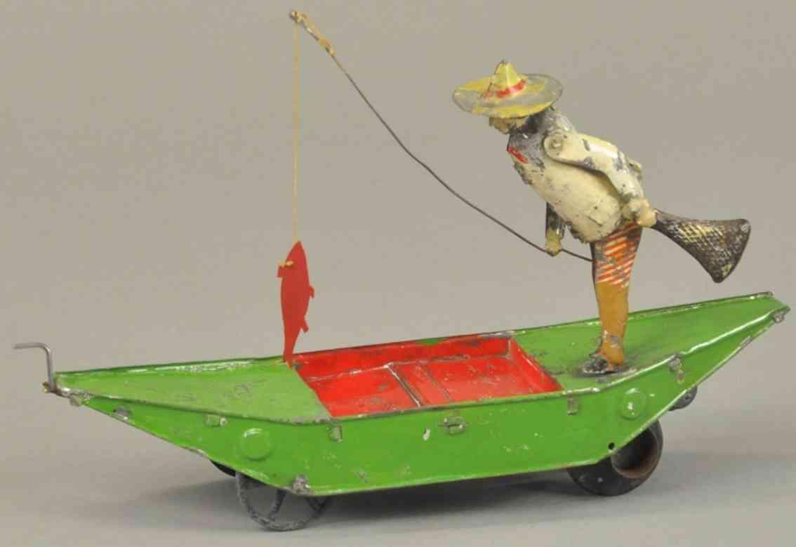 martin fernand 37 blech spielzeug fischer im boot le pecheur a la ligne