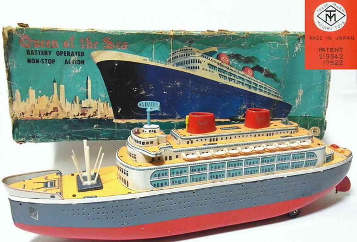 masudaya blech spielzeug queen of the sea ozeandampfer lithografiert, batteriebetrieb