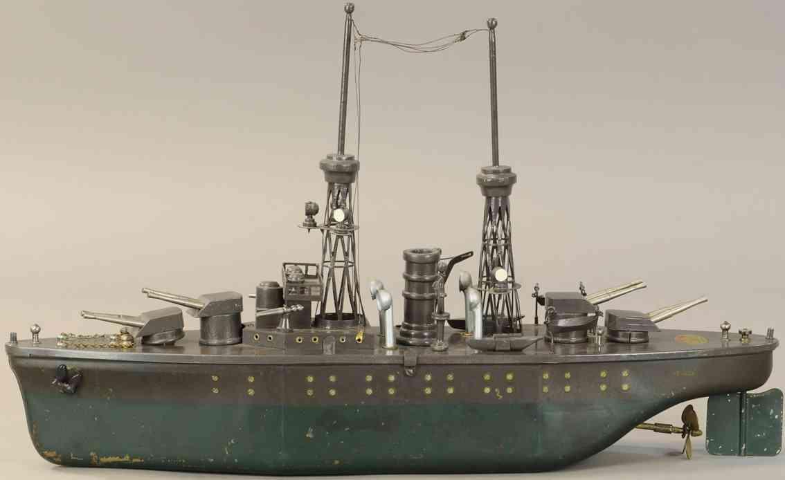 orkin tin toy medium craft battleship nevada with wind-up
