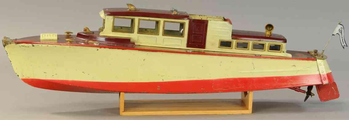 orkin tin toy ship cabin cruiser craft clockwork