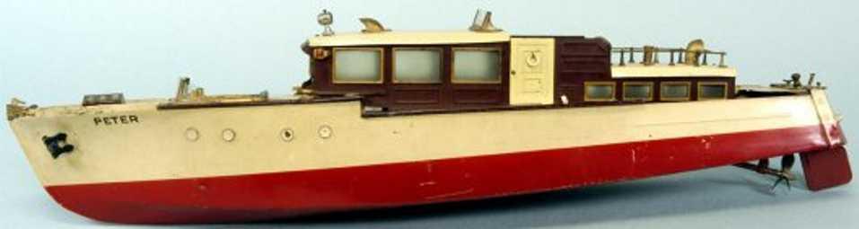 orkin tin toy ship cabin cruiser craft  peter