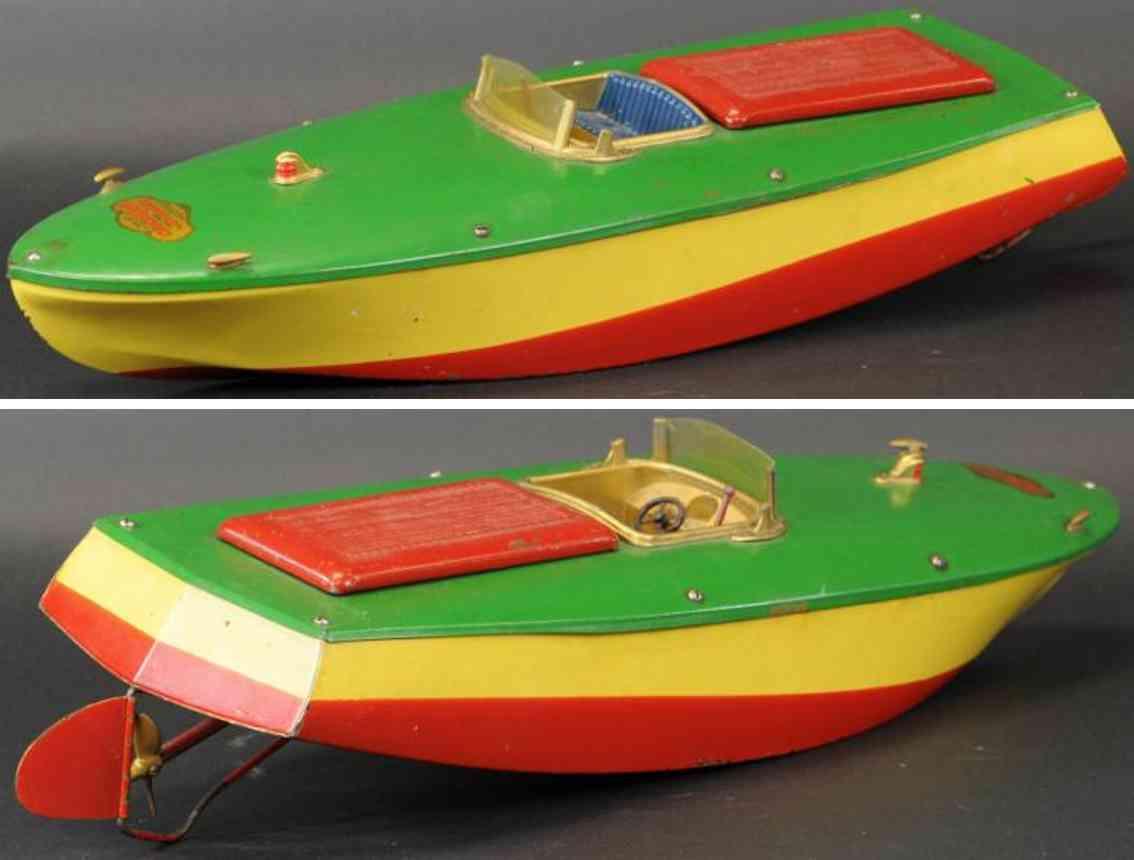 orkin stahlblech spielzeug rennboot gelb rot gruen uhrwerk