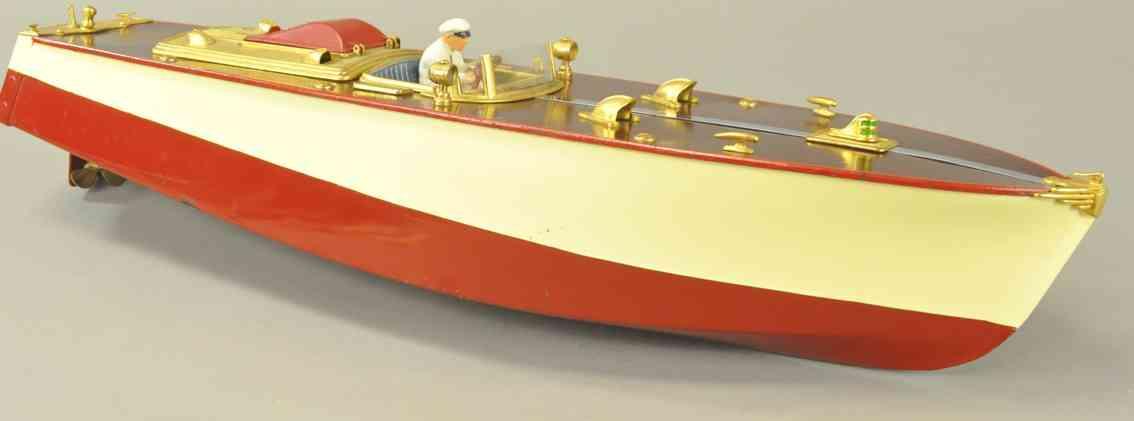 orkin blech spielzeug rennboot rot weiss fahrer windschutzscheibe