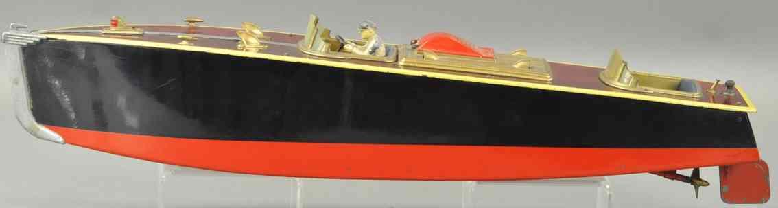 orkin blech spielzeug rennboot mit uhrwerk rot schwarz