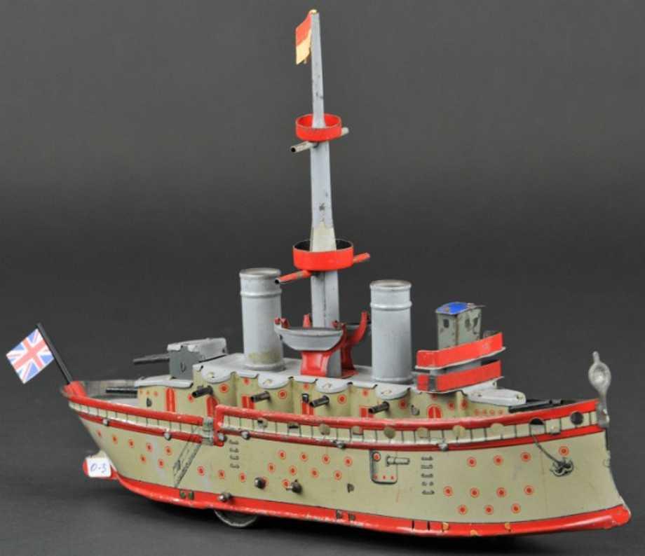 orobr blech spielzeug schiff zerstoerer uhrwerk
