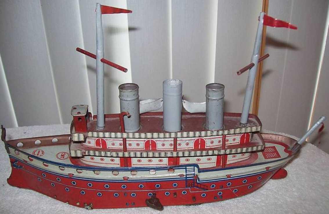 orobr 207 blech spielzeug schiff ozeandampfer uhrwerk