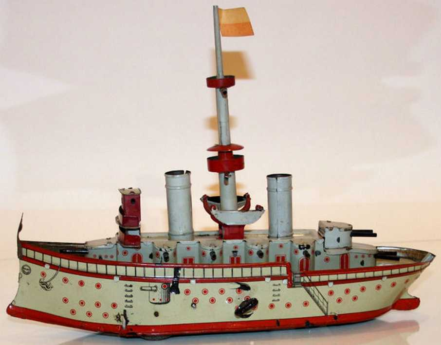 orobr tin toy warship spiral spring drive