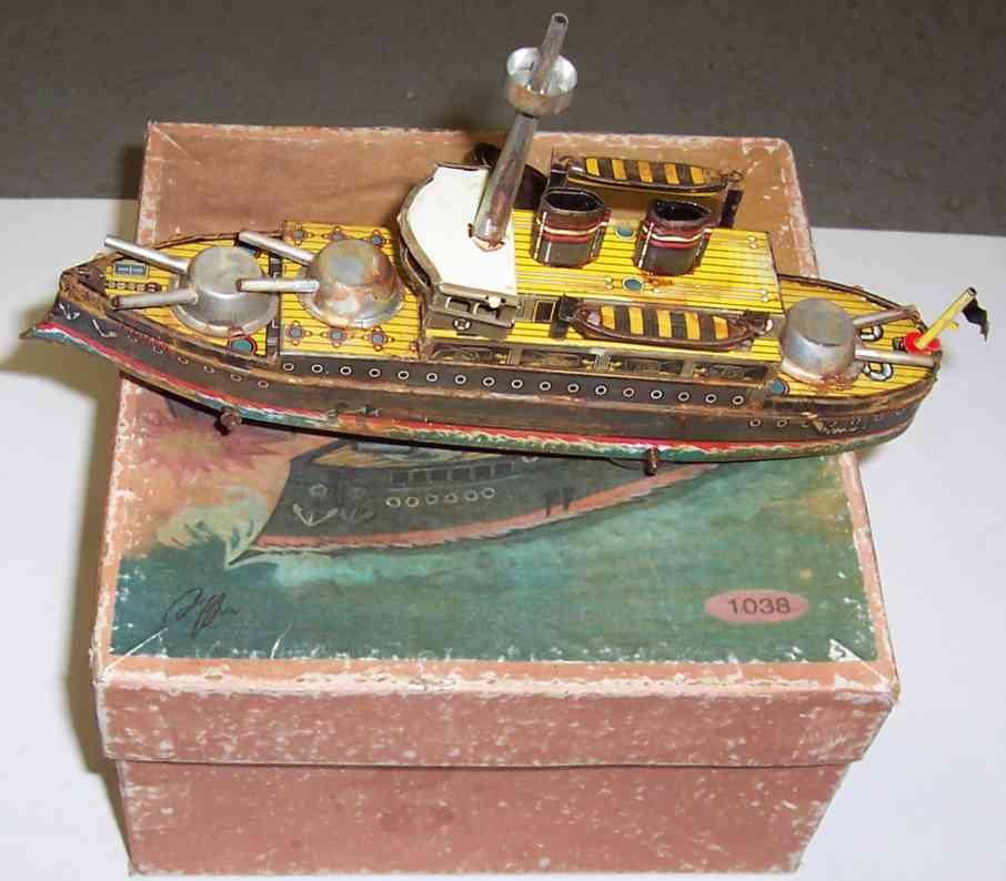 paya 1038 blech spielzeug blechschiff bodenlaeufer kriegsschiff