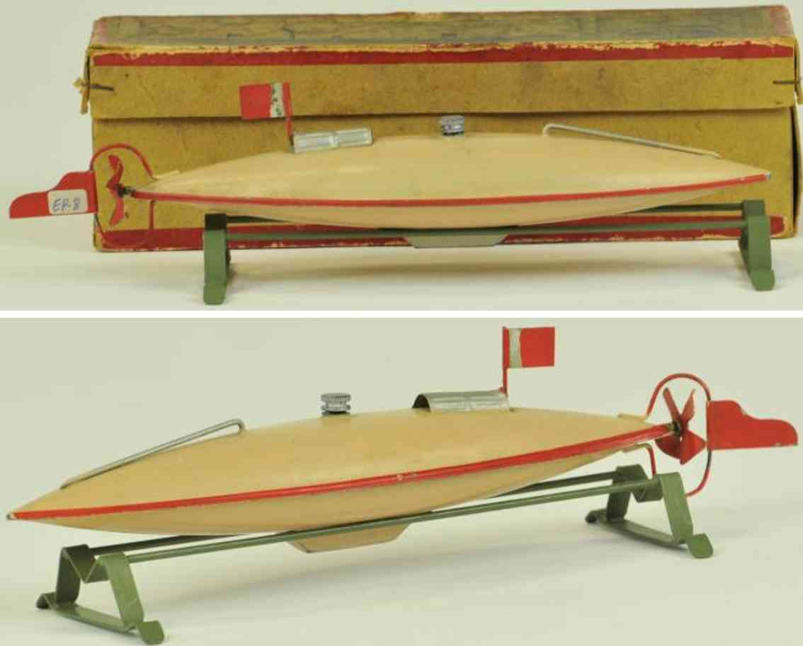 plank ernst blech spielzeug u-boot hellbraun uhrwerk