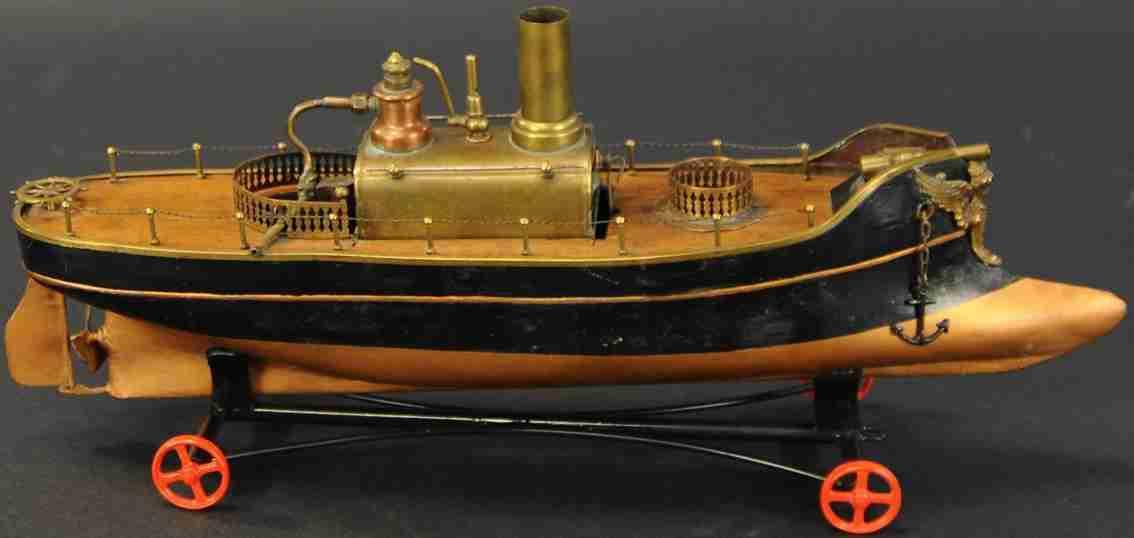 radiguet & massiot blech spielzeug schlankes spiritus-dampfkanonenboot holz deck