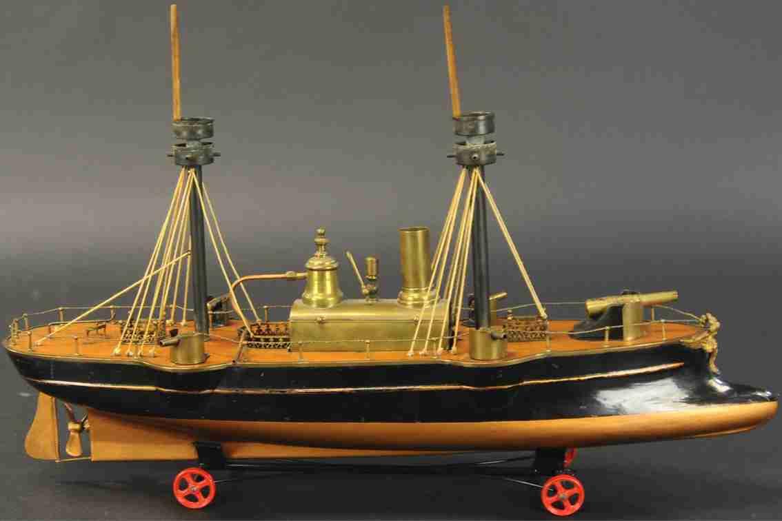 radiguet & massiot blech spielzeug dampfbetriebenes kanonenboot rammbock