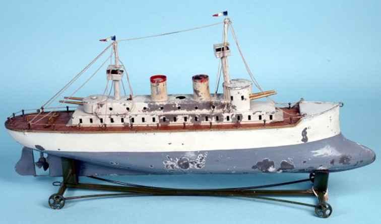 radiguet & massiot blech spielzeug kriegsschiff grau weiss