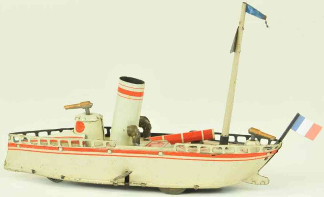 reil & co tin toy ship torpedo boat clockwork