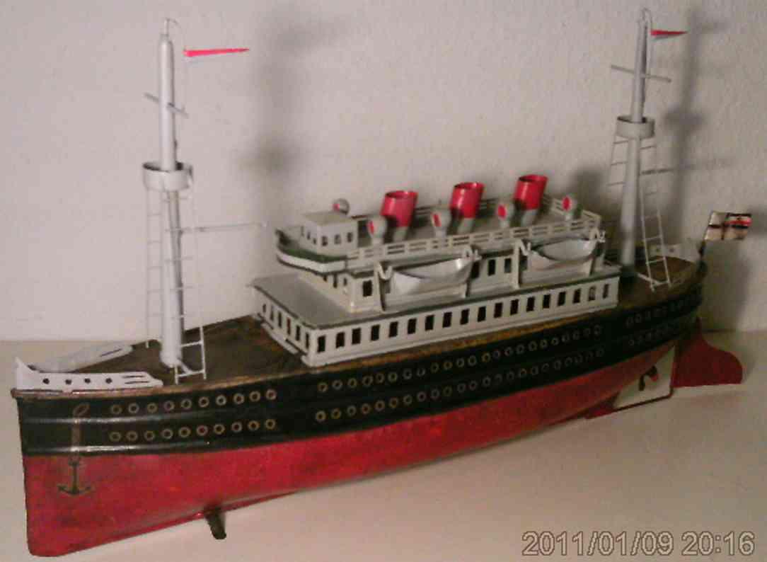 rosenbaum karl tin toy passenger steamer with clockwork