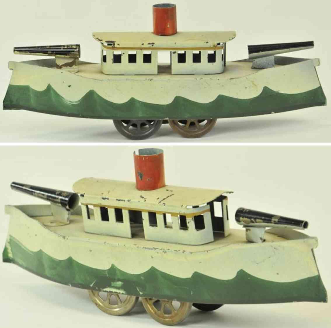 schieble stahlblech spielzeug schiff kanonenboot