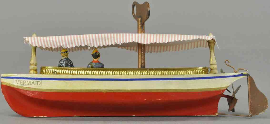 schoenhut mermaid tin toy river boat clockwork canopy two figures