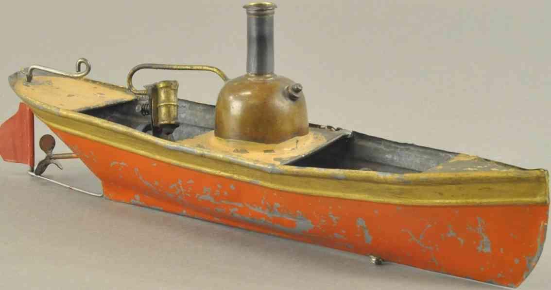 schoenner jean 135/1 blech spielzeug flussboot echtdampf rot braun gold