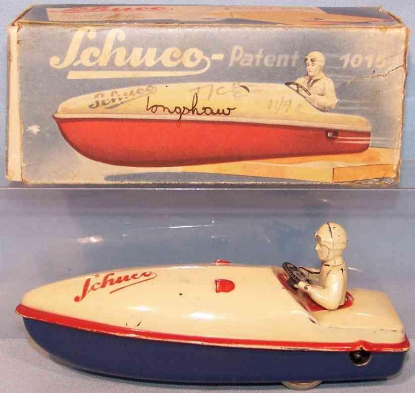 schuco 1015 blech spielzeug wendeboot uhrwerk blau weiss