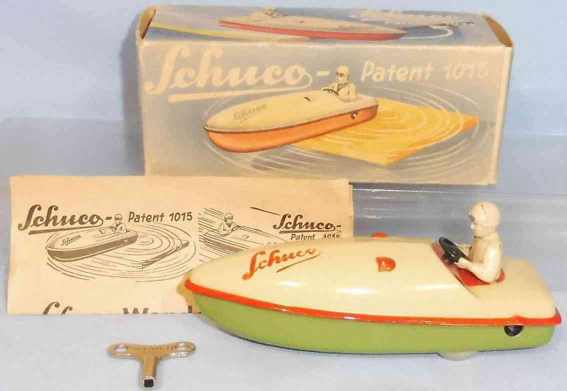 schuco 1015 blech spielzeug wendeboot uhrwerk figur fahrer