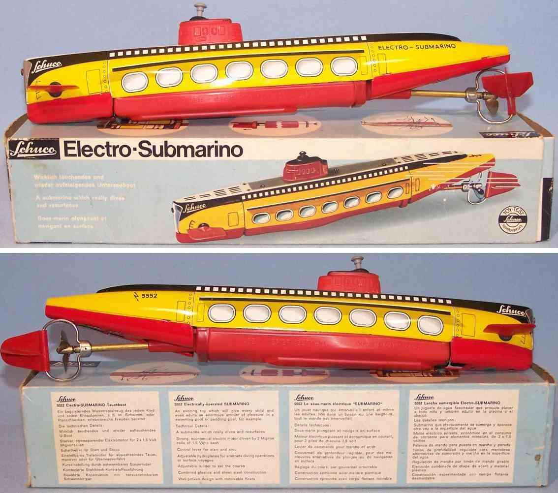 schuco 5552 blech spielzeug electro-submarino u-boot