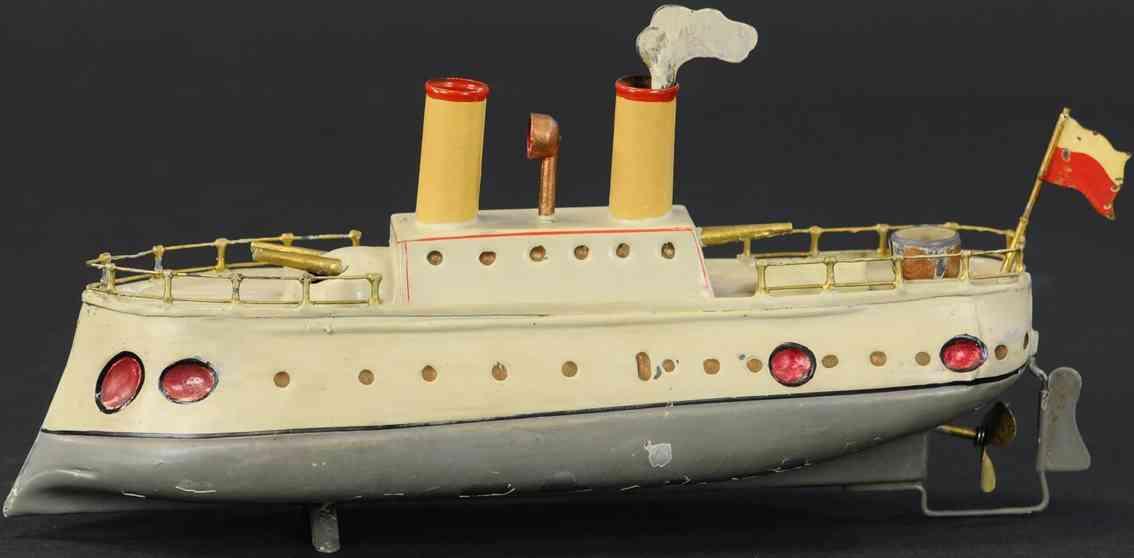 staudt leonhard 3317/2 blech spielzeug panzerschiff uhrwerk zwei schornsteine