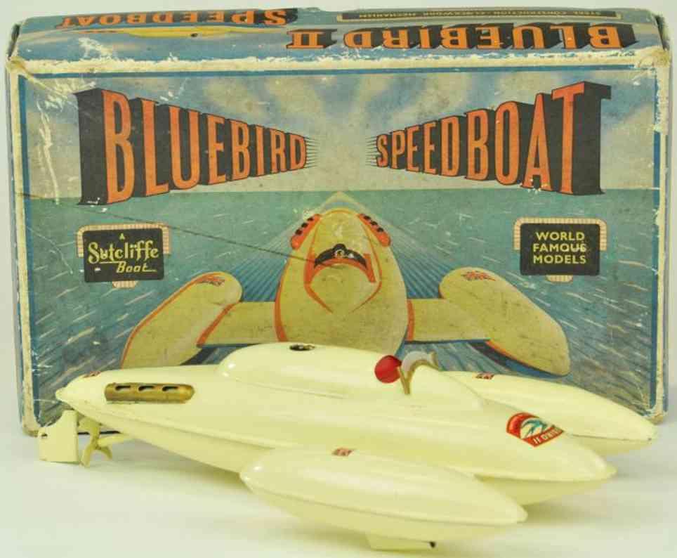 sutcliffe stahlblech spielzeug bluebird schnellboot