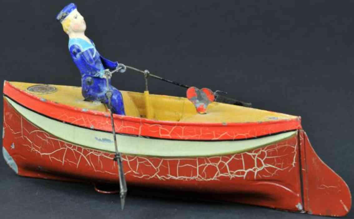 uebelacker 738/1 tin toy rower rowboat clockwork
